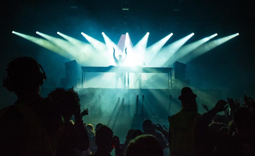 DJ Booth Strobe Light Party.